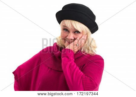 Lady smiling and touching face. Isolated happy woman.
