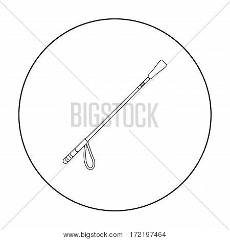 Riding whip icon in outline design isolated on white background. Hippodrome and horse symbol stock vector illustration.