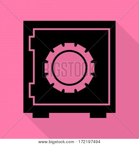Safe sign illustration. Black icon with flat style shadow path on pink background.