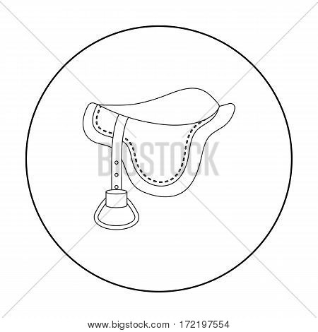 Saddle icon in outline design isolated on white background. Hippodrome and horse symbol stock vector illustration.