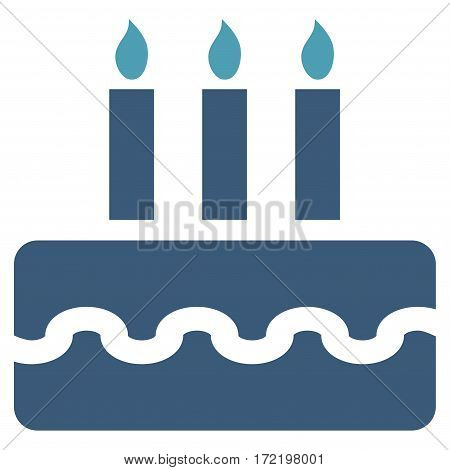 Birthday Cake flat icon. Vector bicolor cyan and blue symbol. Pictogram is isolated on a white background. Trendy flat style illustration for web site design logo ads apps user interface.