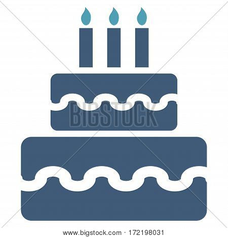 Birthday Cake flat icon. Vector bicolor cyan and blue symbol. Pictograph is isolated on a white background. Trendy flat style illustration for web site design logo ads apps user interface.