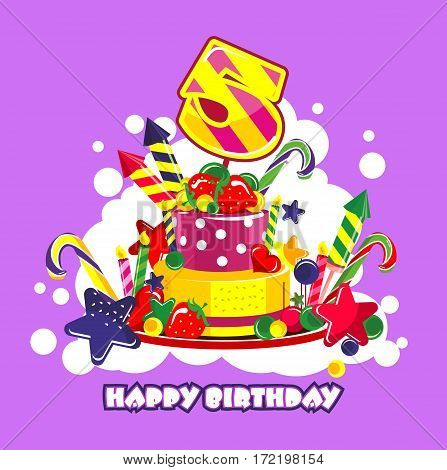 Vector illustration of birthday cake birthday sweets decorated with candles and the number of 5 year