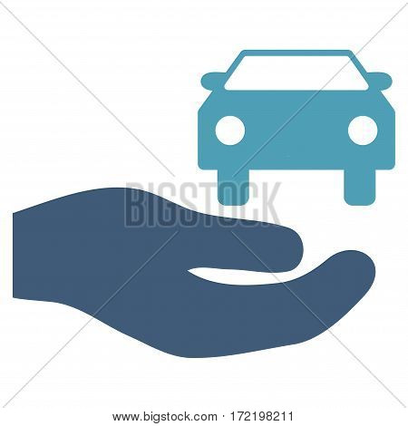 Car Gift Hand flat icon. Vector bicolor cyan and blue symbol. Pictogram is isolated on a white background. Trendy flat style illustration for web site design logo ads apps user interface.