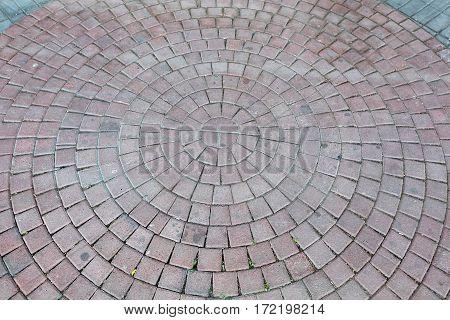 Cobblestones Concentric Circle Pavement at Street Square