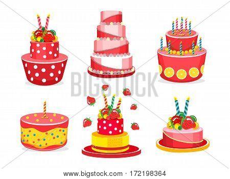 Vector set of celebratory cake on a white background