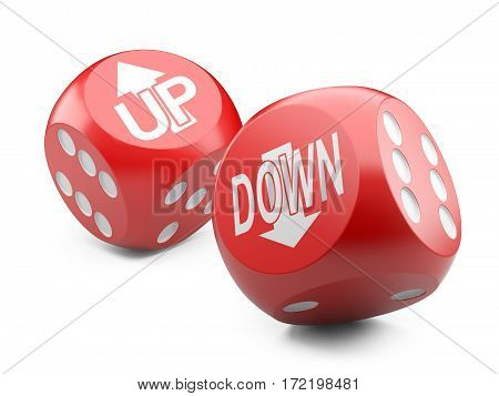 3d red game dices wit up an down arrow sign. Illustration isolated on a white background