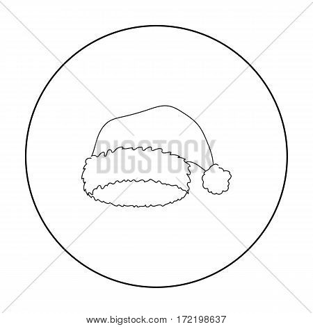 Christmas cap icon in outline style isolated on white background. Hats symbol vector illustration.
