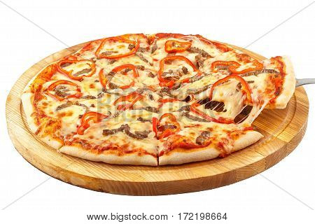 Acute Pizza California, mozzarella, beef, onion, sweet pepper, Tabasco on an isolated white background
