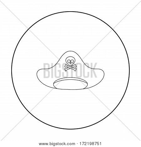 Pirate hat icon in outline style isolated on white background. Hats symbol vector illustration.