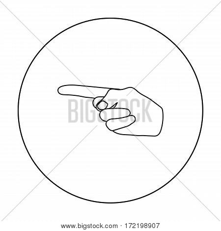 Index finger icon in outline style isolated on white background. Hand gestures symbol vector illustration.