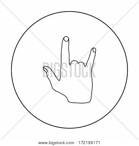 ILY sign icon in outline style isolated on white background. Hand gestures symbol vector illustration.
