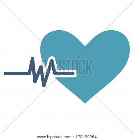 Heart Pulse flat icon. Vector bicolor cyan and blue symbol. Pictograph is isolated on a white background. Trendy flat style illustration for web site design logo ads apps user interface.