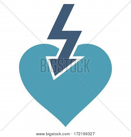 Heart Shock Strike flat icon. Vector bicolor cyan and blue symbol. Pictogram is isolated on a white background. Trendy flat style illustration for web site design logo ads apps user interface.
