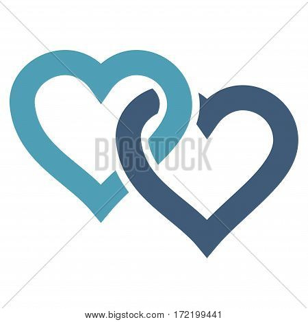 Linked Hearts flat icon. Vector bicolor cyan and blue symbol. Pictograph is isolated on a white background. Trendy flat style illustration for web site design logo ads apps user interface.