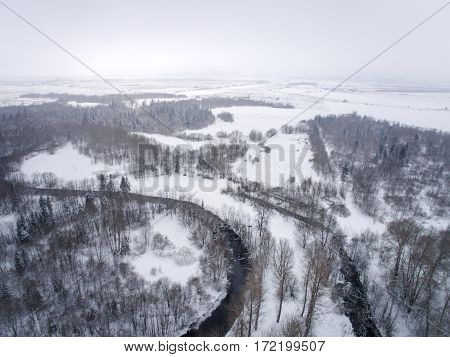 Winter Landscape Photographed From Above The Forest And River