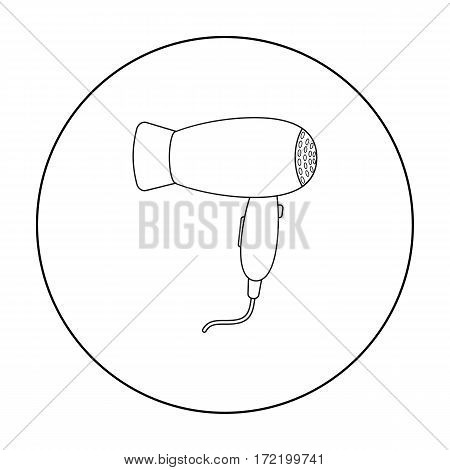 Hair dryer icon in outline style isolated on white background. Hairdressery symbol vector illustration.