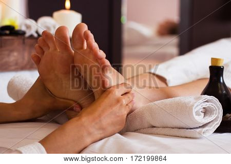 Massage Of Human Foot In Spa Salon - Soft Focus