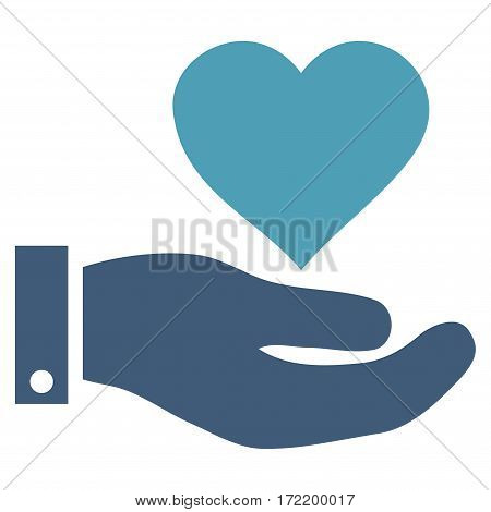 Love Heart Offer Hand flat icon. Vector bicolor cyan and blue symbol. Pictograph is isolated on a white background. Trendy flat style illustration for web site design logo ads apps user interface.