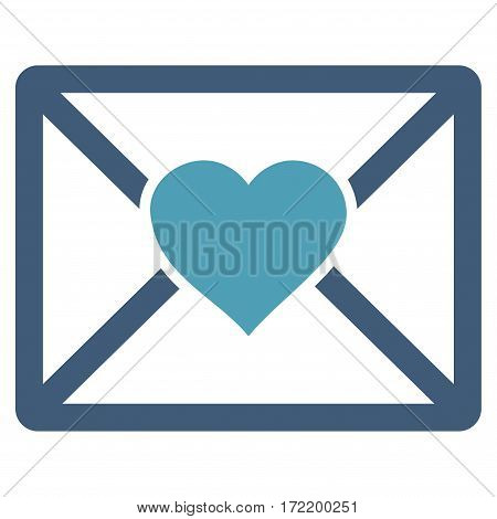 Love Letter flat icon. Vector bicolor cyan and blue symbol. Pictogram is isolated on a white background. Trendy flat style illustration for web site design, logo, ads, apps, user interface.