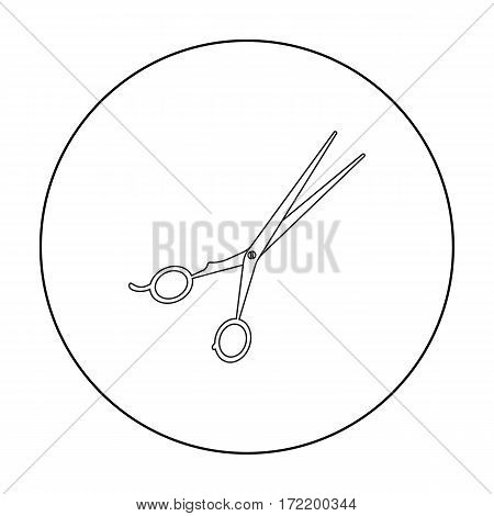 Hair-cutting shears icon in outline style isolated on white background. Hairdressery symbol vector illustration.