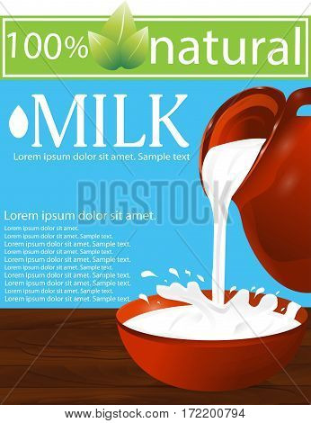 Milk being poured from a jug into a bowl on a wooden table. Splash. Blue background. Vector illustration.