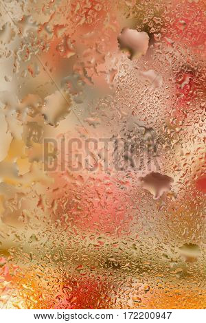 Abstract design element with real light reflection for banner, print, template, web, decoration. Modern vertical background in warm tones with raindrops