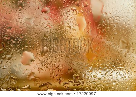 Abstract design element with real light reflection for banner, print, template, web, decoration. Modern background in warm colors with raindrops