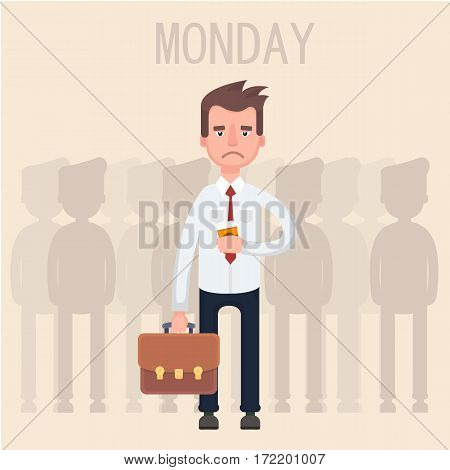 Work is tired with a cup of coffee. Flat. Vector. Illustration.