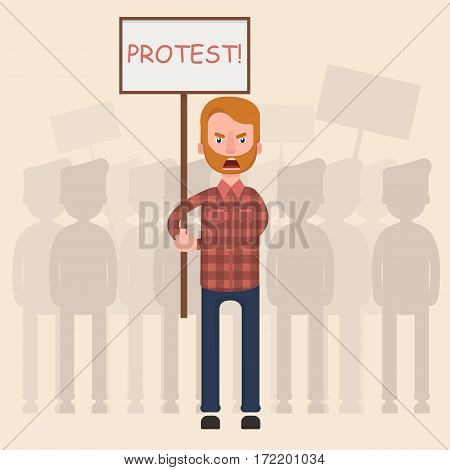 A crowd of people protesting against something. Flat. Vector.
