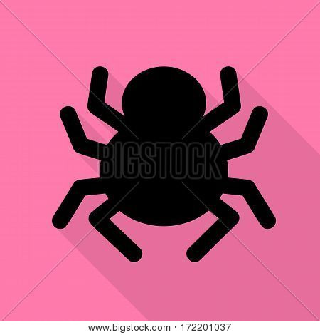 Spider sign illustration. Black icon with flat style shadow path on pink background.