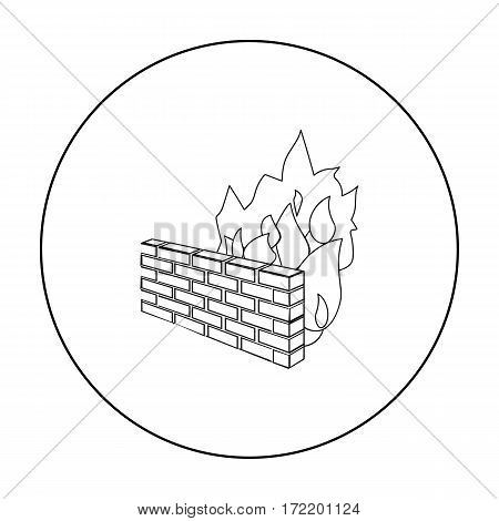 Firewall icon in outline design isolated on white background. Hackers and hacking symbol stock vector illustration.