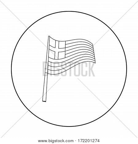 Greek flag icon in outline style isolated on white background. Greece symbol vector illustration.