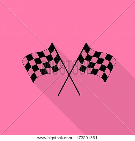 Crossed checkered flags logo waving in the wind conceptual of motor sport. Black icon with flat style shadow path on pink background.