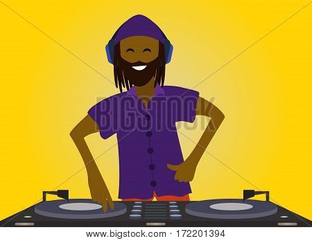 Funny and smiling DJ mixing music on console