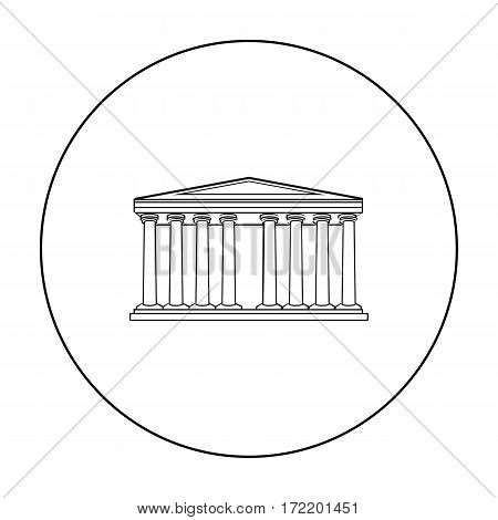 Antique greek temple icon in outline style isolated on white background. Greece symbol vector illustration.