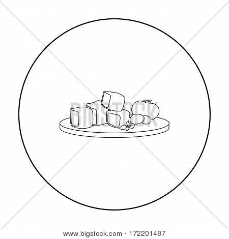 Diced cheese feta with tomatoes and olives on the cutting board icon in outline style isolated on white background. Greece symbol vector illustration.