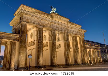 The back side of the Brandenburger Tor in Berlin at night