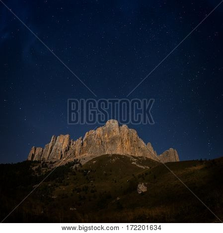 Mountain Big Thach and starry sky. Caucasus Russia