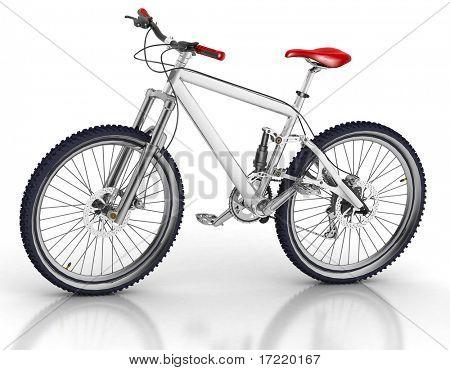 Fahrrad isoliert auf weißem Hintergrund mit Reflektion