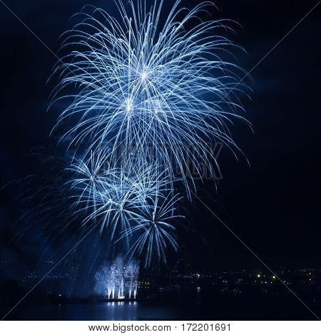 Beautiful firework over the water in the night sky