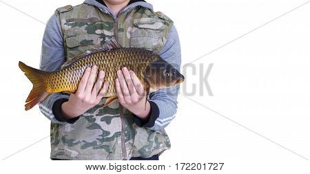Carp In The Hands Of The Fisherman.
