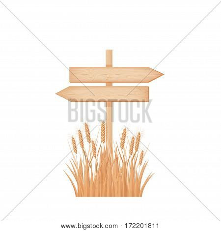 Wooden two opposite arrows signboard with knots and cracks on a pole at the wheat field vector illustration