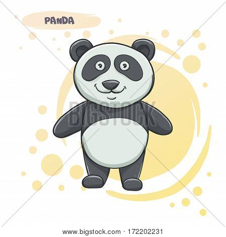 Cartoon panda on a light background. It can be used as a character for postcards or sata about animals.