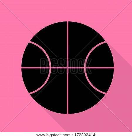 Basketball ball sign illustration. Black icon with flat style shadow path on pink background.