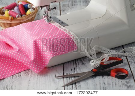 Leisure Hobby Concept, Sewing Machine At Home With Pink Polkadot
