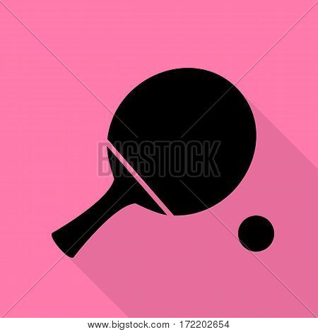 Ping pong paddle with ball. Black icon with flat style shadow path on pink background.