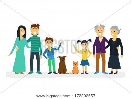 Big family. Vector flat illustration isolated on white