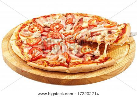 Assorted Meat Pizza, mozzarella, pork, beef, bacon, chicken breast, tomatoes, parsley isolated on a white background