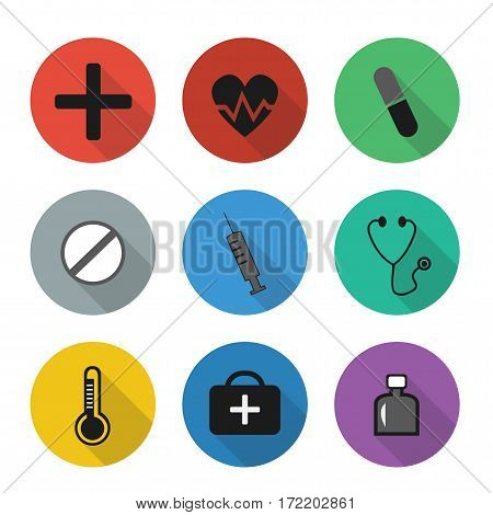 Vector flat medical icons in color rounds. Set